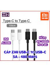 Cáp sạc nhanh 5A ZMI USB-C to USB-C AL308E - Đen