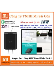Adapter Sạc 18W ZMI HA612 Hỗ Trợ Sạc Nhanh QC 3.0