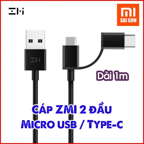 [1m] Cáp ZMI 2-in-1 Micro USB – Type-C ( Đen/ Trắng ) AL501