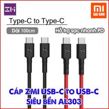 Cáp ZMI Type C To Type C AL303 Siêu Bền Dài 1m - Hỗ trợ sạc nhanh PD