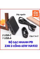 Bộ sạc PD ZMI 3 cổng 65W HA932 ( 2 Cổng USB-C, 1 Cổng USB-A )